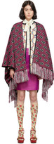 Gucci Pink and Black Jacquard Stripe GG Poncho