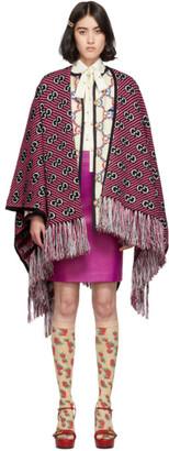 Gucci Pink and Black Jacquard Stripe GG Poncho