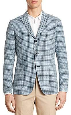 Saks Fifth Avenue Slim-Fit Hatch Stitch Plaid SportCoat