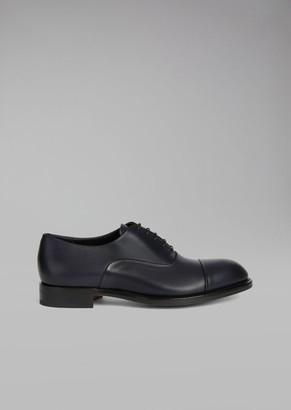 Giorgio Armani Smooth Leather Oxford Shoe With Decorative Stitching