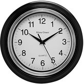 Aster Kiera Grace Round Wall Clock, 10 Inch, 1.5 Inch deep - Black
