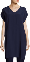 Eileen Fisher Petite Short Sleeve Crinkle Crepe Tunic