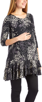 Glam Black Abstract Ruffle-Hem Maternity Tunic