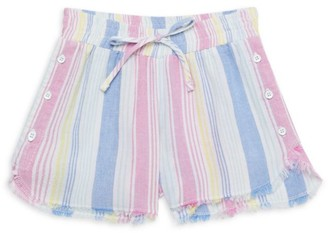 Bella Dahl Little Girl's & Girl's Sunfade Rainbow Stripe Frayed Shorts