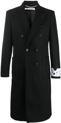 Off-White Double-Breasted Logo Print Coat