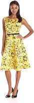 Julian Taylor Women's Belted Floral Print Dress, Lemon/Black