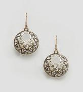 Reclaimed Vintage Inspired Round Hollow Flower Drop Earrings