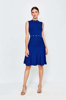 Karen Millen Eyelet Fit and Flare Knitted Dress