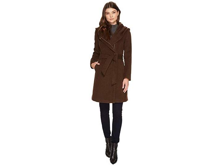 Cole Haan Hooded Asymmetrical Zip Front Coat Women's Coat
