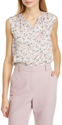Tailored by Rebecca Taylor Confetti Floral Sleeveless Silk Blend Blouse