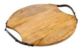Godinger Round Wood Handeled Tray