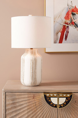 Anthropologie Ceramic Braid Table Lamp By in White Size ALL