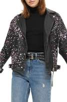 Topshop Eddie Rhinestone & Paint Splatter Leather Biker Jacket