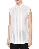 Sandro Clea Lace-Front Sleeveless Shirt