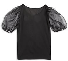 Aqua Girls' Sheer Puff Sleeve Top, Big Kid - 100% Exclusive