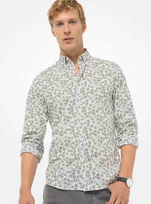 Michael Kors Slim-Fit Abstract Floral Cotton-Stretch Shirt