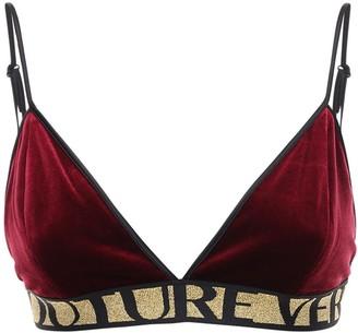 Versace Jeans Couture Logo Velvet Bra Top