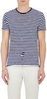 Barneys New York Men's Striped Distressed Cotton T-Shirt-NAVY