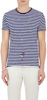 Barneys New York Men's Striped Distressed Cotton T-Shirt