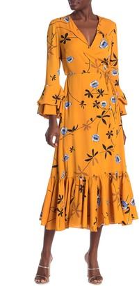 Diane von Furstenberg Madeline Leopard Wrap Ruffle Trim Midi Dress