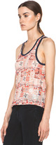 Etoile Isabel Marant Foxton All Over Printed Linen Tank in Rouge