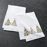 Crate & Barrel Jolly Trees Dish Towels Set of Two