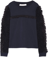 See by Chloe Ruffled lace-paneled cotton-jersey top