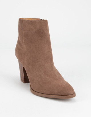 Qupid Clean Taupe Womens Booties
