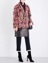 Alexander McQueen Notch-lapel tweed and leather coat