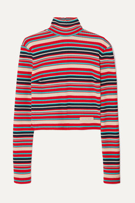 Prada Striped Ribbed-knit Sweater - Red