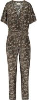 Mini Jungle printed silk and cotton-blend jumpsuit