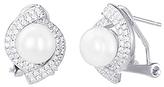 Bliss Pearl & Cubic Zirconia Lever-Back Stud Earrings