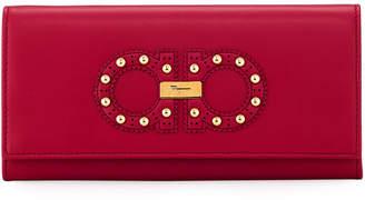Salvatore Ferragamo Gancini Studded Continental Flap Wallet
