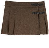 Bonpoint Pleated Tech-Wool Felt Skirt-GREEN