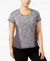 Ideology Plus Size Keyhole-Back Space-Dyed T-Shirt, Created for Macy's