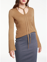 Max Studio Long Sleeve Choker Jumper, Heather Camel