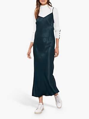 Mint Velvet Satin Slip Dress, Forest Green
