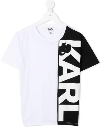 Karl Lagerfeld Paris panelled logo T-shirt