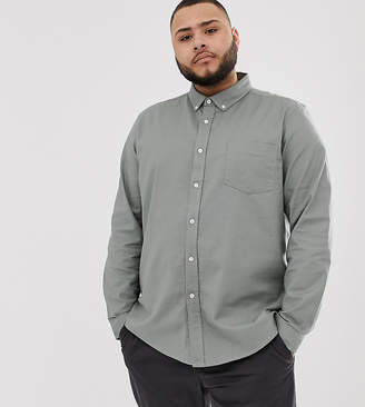 Asos Design DESIGN Plus slim oxford shirt with button down collar in light green