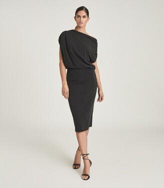 Reiss Evelyn - Jersey Drape Dress in Charcoal