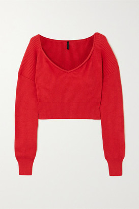 Unravel Project Ribbed Cotton And Cashmere-blend Sweater - Red