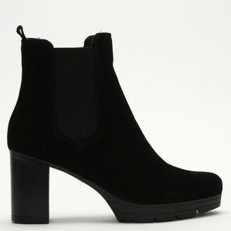 Daniel Ridley Black Suede Stacked Heel Chelsea Boots