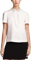 Draper James Clementine Embellished Short Sleeve Collared Shirt