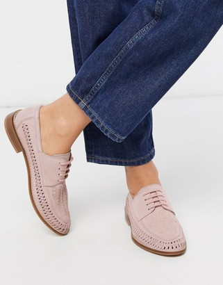 Asos DESIGN Mosely suede woven lace up shoes in blush