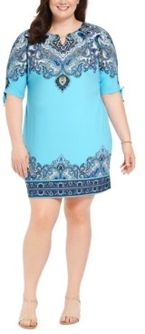 JM Collection Plus Size Hardware-Trim Ruched-Sleeve Dress