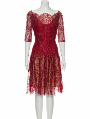 Marchesa Notte Lace Pattern Midi Length Dress Red