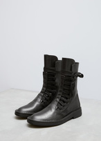 Ann Demeulemeester vitello lux black wide lace up boot