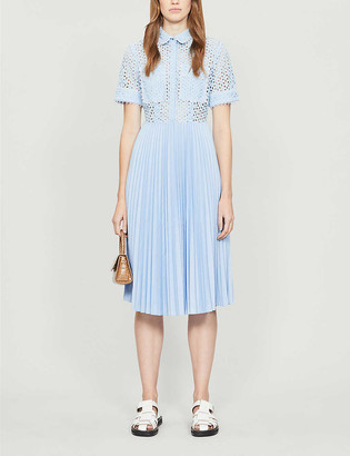Claudie Pierlot Broderie anglaise pleated cotton midi dress