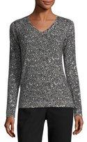 Escada Tweed-Print Cashmere V-Neck Sweater