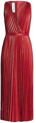Valentino V-Neck Pleated Leather Maxi Dress